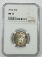1924 STANDING LIBERTY QUARTER NGC MINT STATE 64 SILVER 25C