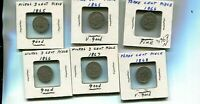 1865 1866 1867 1868  THREE CENT NICKEL TYPE COIN LOT OF 6 G VG FINE 3363N