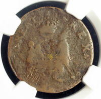 1670 USA NEW JERSEY. COLONIAL ST.PATRICK / MARK NEWBY FARTHING COIN. NGC VG