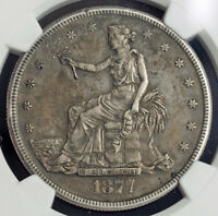 1877 S USA. LARGE SILVER TRADE DOLLAR COIN. CERTIFIED & PROBLEM FREE  NGC AU50