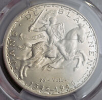 1946 LUXEMBOURG  GRAND DUCHY .LARGE SILVER 100 FRANCS COIN. PCGS MS 64