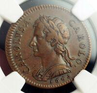 1665 GREAT BRITAIN CHARLES II. CU PATTERN 1/4 PENNY  FARTHING  COIN. NGC VF35