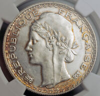 1931 FRENCH INDO CHINA. SILVER PIASTRE  COLONIAL TRADE DOLLAR  COIN. NGC AU 58