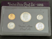 1985 S UNITED STATES. SEALED PROOF MINT SET OF 5 COINS IN VELVET WRAPPING
