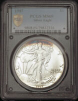 1987 UNITED STATES. CERTIFIEDSILVER EAGLE DOLLAR COIN.  1 OUNCE   PCGS MS 69