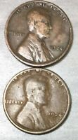 1924 P & S LINCOLN WHEAT CENT, US ONE CENT 2 COINS  2
