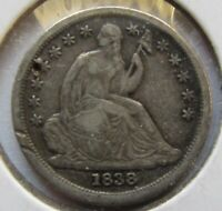 1838  SEATED LIBERTY DIME VF DETAIL DAMAGED
