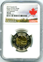2017 CANADA $2 BATTLE OF VIMY RIDGE NGC MS66 FIRST RELEASES