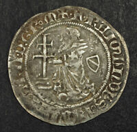 1374 RHODES KNIGHTS OF ST. JOHN RAYMOND BERENGER. SILVER GIGLIATO COIN.
