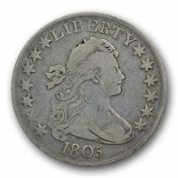 1805 50C DRAPED BUST HALF DOLLAR  FINE TO EXTRA FINE EARLY US TYPE COIN
