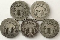 5C SHIELD NICKEL US COIN LOT OF 5 1868 PLUS OTHER DATES