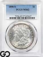 1898-S MINT STATE 62 MORGAN SILVER DOLLAR SILVER COIN PCGS MINT STATE 62  BLAST WHITE