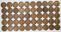 1932 D LINCOLN WHEAT CENT PENNY 1C AVG CIRC AVERAGE CIRC FULL ROLL 50 COINS