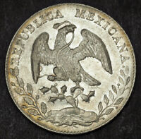 1886 MEXICO  2ND REPUBLIC . LARGE SILVER 8 REALES