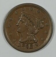 1853 BRAIDED HAIR HALF CENT ALMOST UNCIRCULATED 1/2-CENT