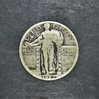 1927 STANDING LIBERTY SILVER QUARTER 25C F CONDITION LOW MINTAGE SN1256