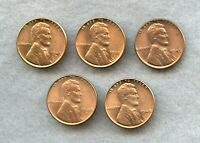 1948-P & S 1949-P & D 1950-D  LINCOLN WHEAT CENT LOT  BU RED  5 COINS
