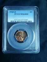 1945-D 1C RD LINCOLN WHEAT CENT-PCGS MINT STATE 64RD SHIPS FREE