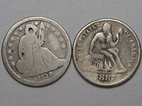 2 US SEATED LIBERTY DIMES: 1838 & 1887.  BOTH W/ PROBLEMS.