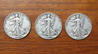 3 LIBERTY WALKING HALF DOLLARS 1945, 1946, 1947 U.S. CURRENCY COINS, 90 SILVER
