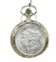 AMERICAN COIN TREASURE 1800S MORGAN SILVER DOLLAR POCKET WATCH