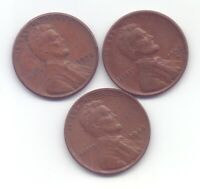 UNITED STATES US ONE CENT 1944 S, 1956 D, 1958 THREE COINS LIBERTY.