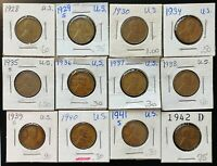 LOT OF 12X USA LINCOLN WHEAT CENTS - DATES: 1928 TO 1942