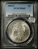 1900-O MORGAN SILVER DOLLAR.  IN PCGS HOLDER.  MINT STATE 65.  G692