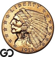 1913 QUARTER EAGLE $2.5 GOLD INDIAN COLLECTOR GOLD COIN    F