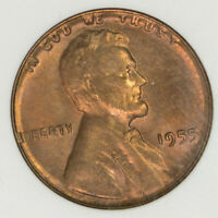 1955 ANACS MINT STATE 64 RD LINCOLN WHEAT CENT ITEMM222