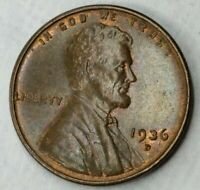 1936 D LINCOLN WHEAT CENT  HIGHER GRADE AND TONING WITH A LITTLE LUSTER