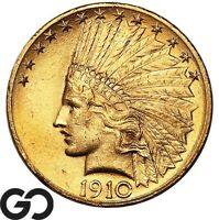 1910 GOLD EAGLE $10 GOLD INDIAN BEAUTIFUL RICH BLAZER    FRE