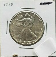 1939 P WALKING LIBERTY SILVER EAGLE HALF DOLLAR AU DETAILS  COIN
