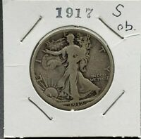 1917 S WALKING LIBERTY SILVER EAGLE HALF DOLLAR COIN CHOICE FINE OBV OBVERSE