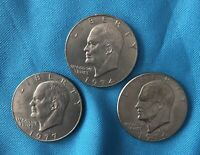 EISENHOWER ONE DOLLAR $1 LOT OF 3 COINS - TWO OF 1974 & ONE OF 1977