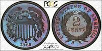 1869 PCGS PR65BN LARRY SHEPHERD COLLECTION COLORFUL TONED PROOF 2 PIECE  PH585