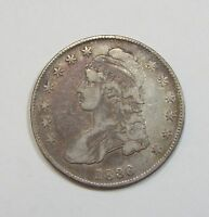 1836 CAPPED BUST/LETTERED EDGE HALF DOLLAR FINE SILVER 50-CENTS