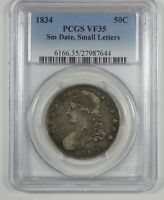 1834 CAPPED BUST/LETTERED EDGE SILVER HALF $ W/SMALL DATE & LETTERS PCGS VF 35