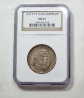 1950-S BOOKER T. WASHINGTON MEMORIAL COMM. SILVER 50C NGC MINT STATE 65 ROLL END TONING