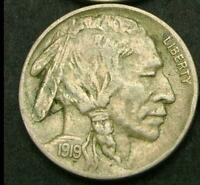 USA 1919 5 CENTS BUFFALO NICKEL OLD COIN LY FINE FULL HORN