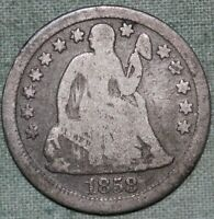 1858 SEATED LIBERTY DIME 10 CENTS FULL LIBERTY SILVERCOMBCOMBINED S. & H.