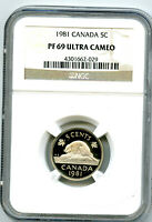 1981 CANADA 5 CENT NGC PF69 ULTRA CAMEO NICKEL PROOF ONLY 21