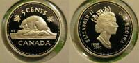 1952 2002 CANADA FROSTED SILVER 5 CENT BEAVER NICKEL PROOF