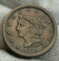1851 BRAIDED HAIR HALF CENT -  ONLY 147,672 MINTED .  COIN 9539