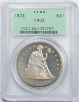 1873 $1 SEATED LIBERTY DOLLAR PCGS PR 63 PROOF CAMEO CAM OGH OLD HOLDER