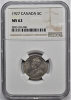 1927 CANADA 5 CENTS 5C NGC MS 62