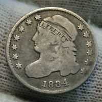 1834 CAPPED BUST DIME 10 CENTS -  COIN, SHIPS FREE  9584