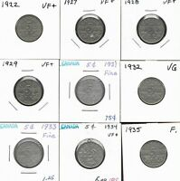 CANADA CANADIAN 5 CENT GEORGE V COINS 1922   1935   LOT OF 9