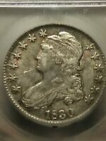 1830 0-111 SMALL 0 CAPPED BUST HALF DOLLAR SILVER ICG - AU55 RAINBOW TONING