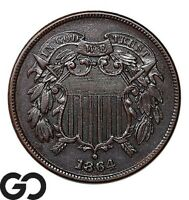 1864 TWO CENT PIECE LARGE MOTTO SHARPLY STRUCK COLLECTOR COP